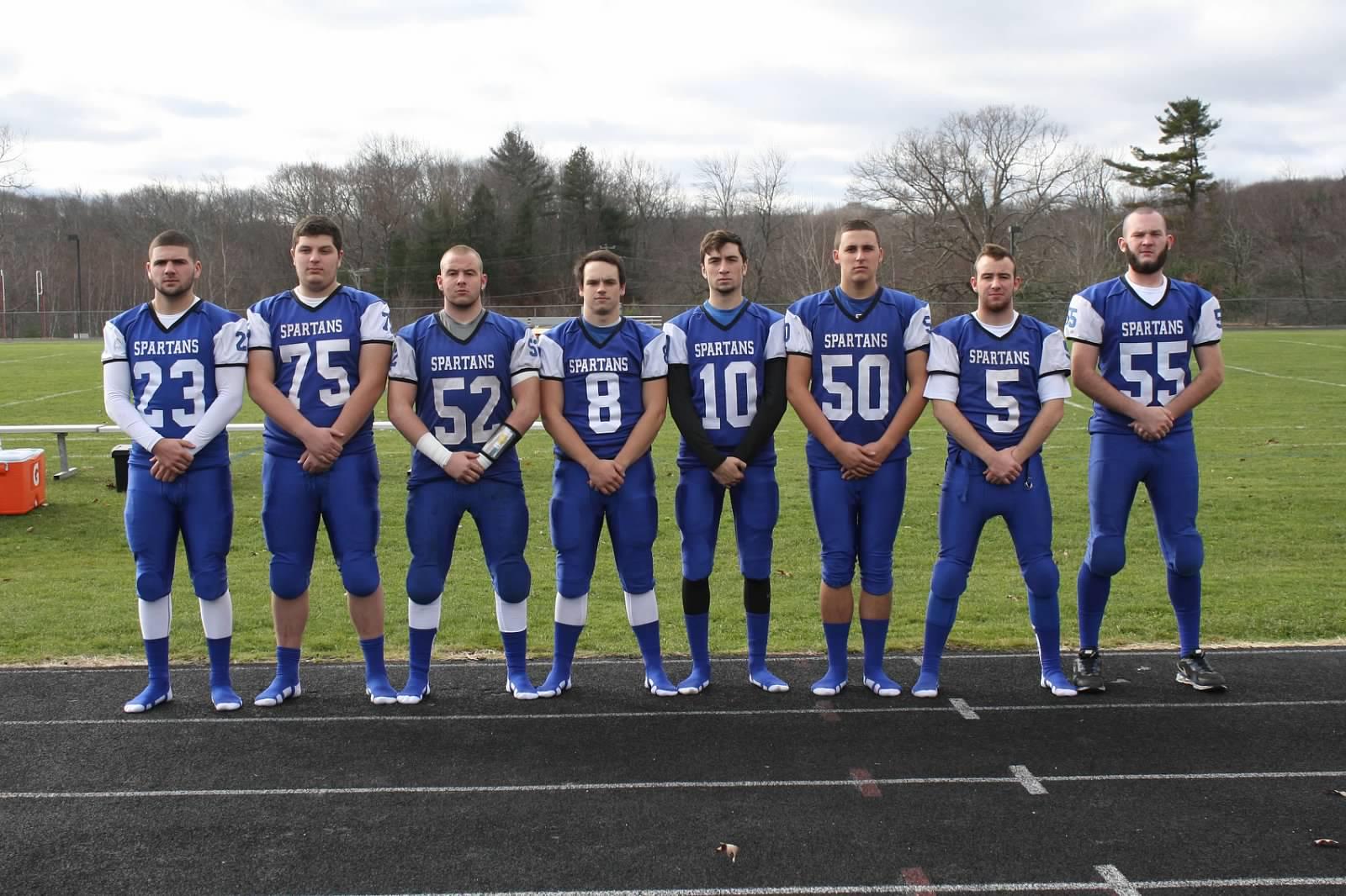The seniors of Mills' varsity football team include Tyler Mello, Garrett LaPointe, Connor Kennedy, Lucas Lanning, Matt Rinkus, Adam Positano, Collin Kennedy and Sean Burke.