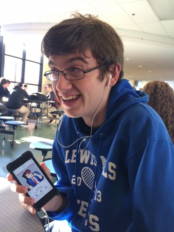Senior Eric Uhl is all smiles as he listens to Gerard Way's Hesitant Alien during cafeteria study hall.