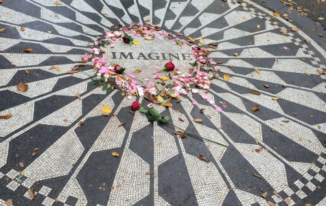 Part of the John Lennon Memorial in Strawberry Fields in Central Park.