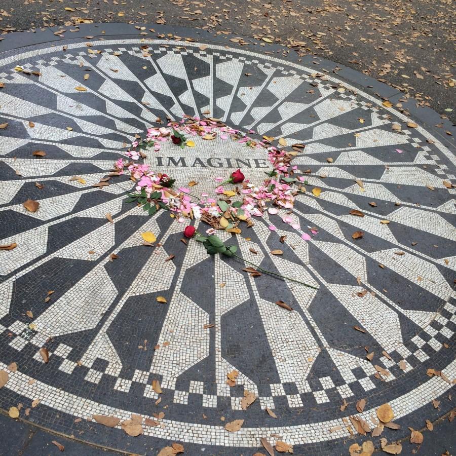 Part of the John Lennon Memorial in Strawberry Fields in Central Park.