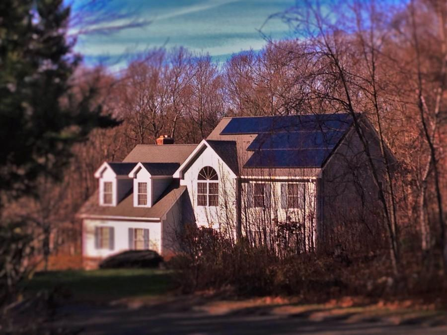 Solar panels on a residential house, something Connecticut will eventually do in the future, on their state buildings.