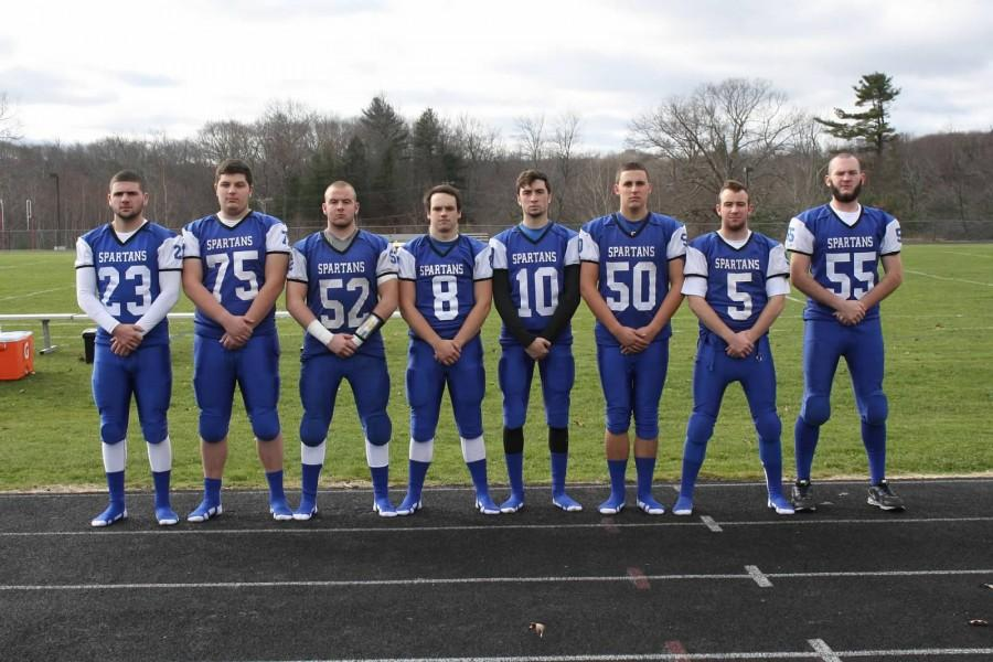 The+seniors+of+Mills%27+varsity+football+team+include+Tyler+Mello%2C+Garrett+LaPointe%2C+Connor+Kennedy%2C+Lucas+Lanning%2C+Matt+Rinkus%2C+Adam+Positano%2C+Collin+Kennedy+and+Sean+Burke.