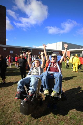 Seniors Jacob Honig and Shawn Magill scored a win in best costume categories for their inventive roller coaster themed ensembles.