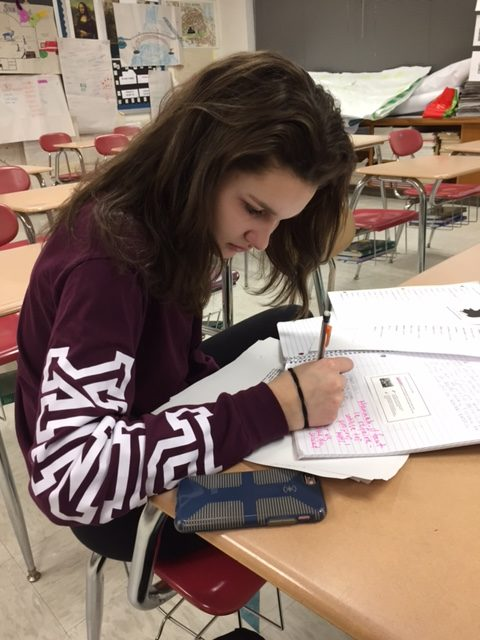 Freshman Hannah Markelon completes a French assignment.