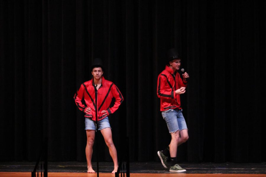 Michio Agresta and Jackson Lord magically entertain the audience at the 17th annual Mr. Mills competition in early December.