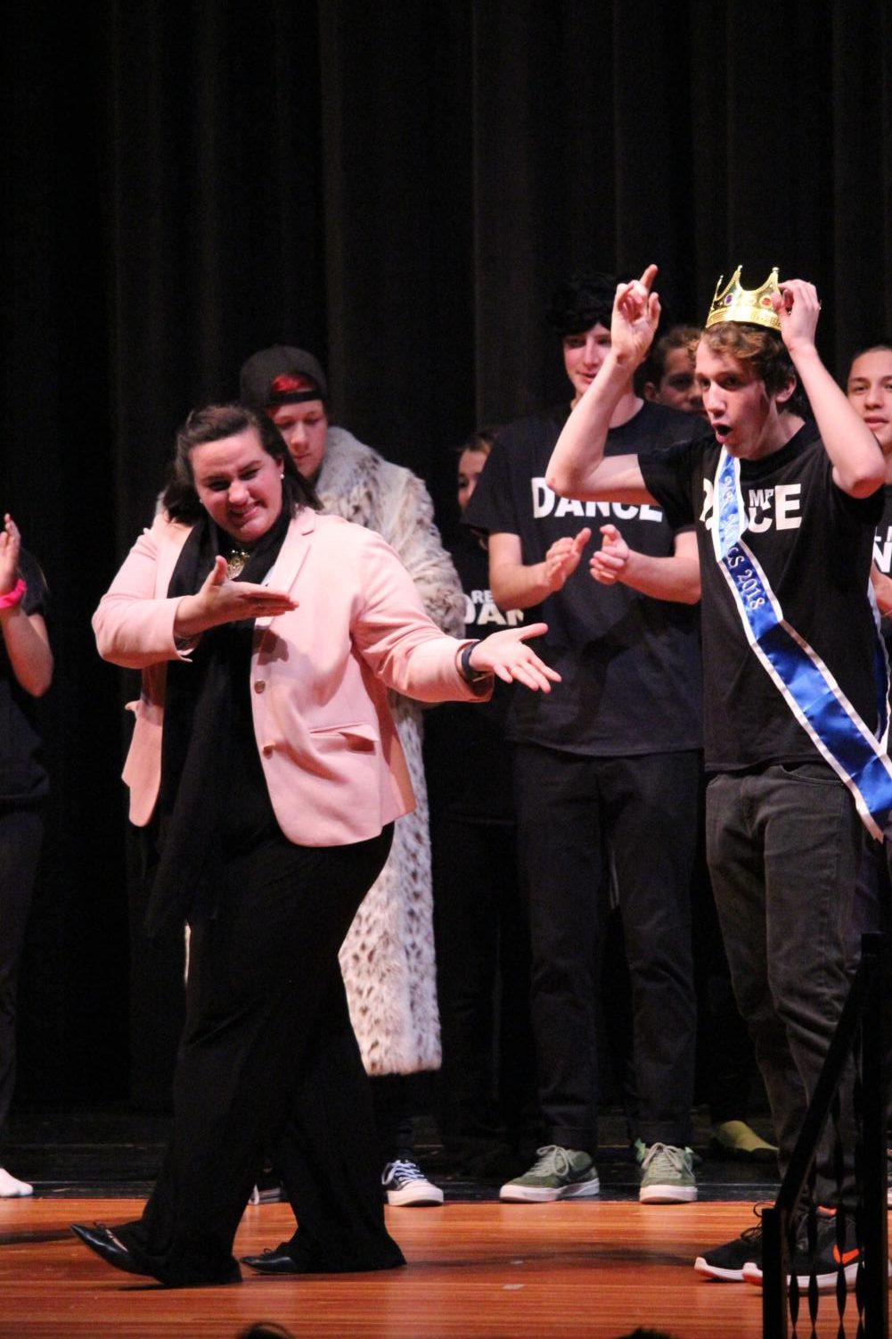 Senior Steve Wyzykowski reacts as he is crowned Mr. Mills 2017.