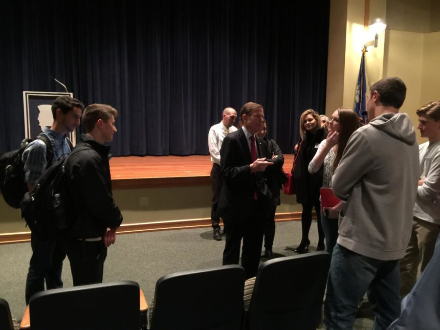 Sen.+Richard+Blumenthal%2C+D-Conn.%2C+visited+Lewis+S.+Mills+High+School+on+Nov.+20.+He+spoke+with+students+briefly+after+addressing+juniors+and+seniors+in+the+auditorium.