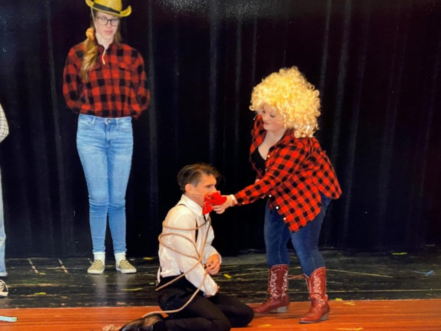 "Freshman Ian Markowich recently acted in one of the lead roles in the school musical ""9 to 5."""