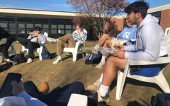 When the weather has been nice, seniors at Lewis Mills get to eat outside, but they must make sure to stay socially distant.