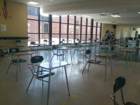 Cafeteria desks are spaced out six feet apart from each other, a stark difference from the tables and seats seen in previous years.
